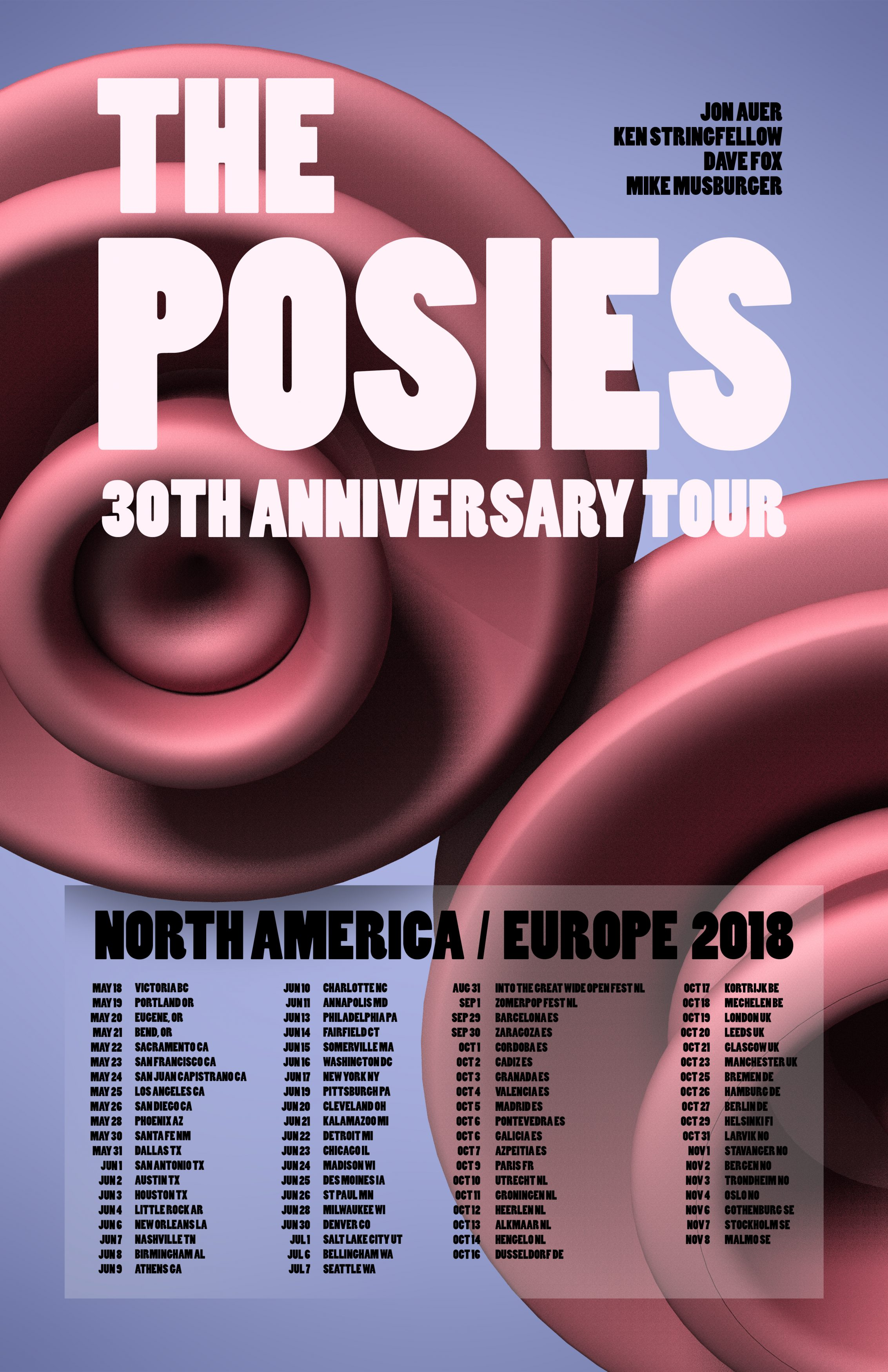 The Posies 2018 Tour Poster by Brian Matthew Hart
